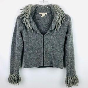 Free People shaggy gray wool cardigan sweater
